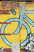 Brick Mixed Media Posters - Urban Bike Art Print Poster by AdSpice Studios