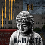 City Buildings Mixed Media Prints - Urban Buddha  Print by Linda Woods
