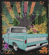 Lowrider Digital Art - Urban C-10 by Beau Van Sickle