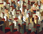Streets Painting Originals - Urban Crowding 1 by John Chehak