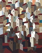 City Buildings Painting Posters - Urban Crowding 2 Poster by John Chehak
