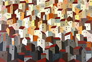 Crowds Painting Originals - Urban Crowding 4 by John Chehak