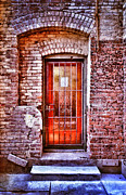 Back Porch Framed Prints - Urban Door in Old Brick Building Framed Print by Jill Battaglia