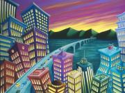 Building Painting Originals - Urban Exodus by Eva Folks