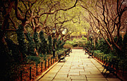 Spring Nyc Metal Prints - Urban Forest Primeval - Central Park Conservatory Garden in the Spring Metal Print by Vivienne Gucwa