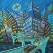 Batman Painting Originals - Urban Knight by Eva Folks