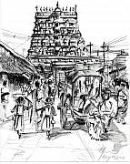 Shops Drawings Prints - Urban life outside temple Print by Aparna Raghunathan
