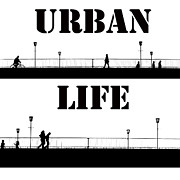 Bw Paintings - Urban Life Two by Stefan Kuhn