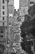 Building Digital Art Originals - Urban Living in San Francisco - A Hilly Street by Mark Hendrickson