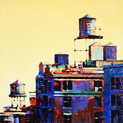 Buildings Painting Posters - Urban Rooftops Poster by Patti Mollica