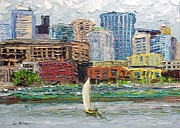 Seattle Skyline Paintings - Urban Sailing by Arlon Rosenoff