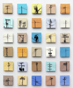 Tiles Ceramics Posters - Urban Sentinels Poster by Jason Messinger