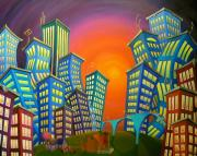 Farm Buildings Painting Originals - Urban Sprawl by Eva Folks