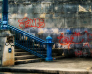 Spraypaint Art Prints - Urban Steps Print by Perry Webster