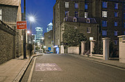 Architectural Detail Framed Prints - Urban Street in East London at Night Framed Print by John Harper