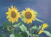 K Joann Russell Art - Urban Sunflowers Original Colorful Painting by K Joann Russell