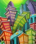 Surreal Landscape Paintings - Urban Vertigo by Eva Folks