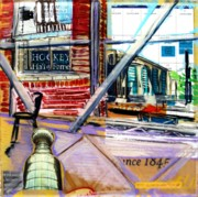 Hockey Mixed Media Prints - Urban Window 8 Print by Jill PRICE