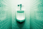 Piss Framed Prints - Urinal in mens restroom. Framed Print by John Greim