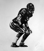 Sports Art Drawings Posters - Urlacher Poster by Adam Barone