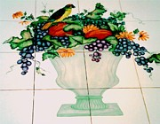 Yellow Leaves Ceramics Posters - Urn of Fruit with Bird Poster by Sandra Maddox