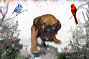 Boxer Puppy Digital Art Posters - Ursula Uma and the Underdog Poster by Julie L Hoddinott