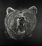 Fangs Drawings Posters - Ursus Horribilis Poster by Joey Nash