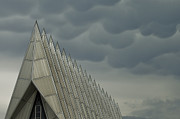 Instability Posters - US Air Force Academy Chapel Storm Clouds Poster by Tim Mulina