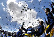 Large Group Of People Prints - U.s. Air Force Academy Graduates Throw Print by Stocktrek Images