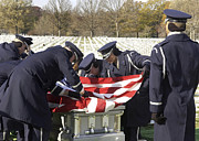 Gravesite Posters - U.s. Air Force Honor Guard Pallbearers Poster by Stocktrek Images