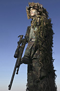 Ghillie Suits Prints - U.s. Air Force Sharpshooter Dressed Print by Stocktrek Images