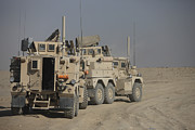U.s. Army Cougar Mrap Vehicles Print by Terry Moore