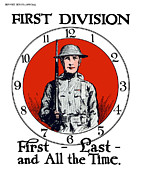 Wwi Propaganda Prints - US Army First Division Print by War Is Hell Store