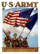 American Flag Digital Art Posters - US Army Guardian Of The Colors Poster by War Is Hell Store