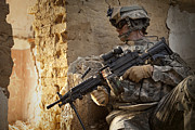 Brick Walls Photos - U.s. Army Ranger In Afghanistan Combat by Tom Weber