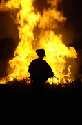 Courage Metal Prints - U.s. Army Sergeant Monitors The Flames Metal Print by Stocktrek Images