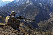 Mountain Men Prints - U.s. Army Sniper Provides Security Print by Stocktrek Images