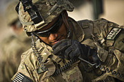 Strategy Photo Framed Prints - U.s. Army Soldier Communicates Framed Print by Stocktrek Images