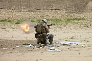 Shoulder-launched Framed Prints - U.s. Army Soldier Fires Framed Print by Terry Moore