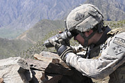 Field Glasses Prints - U.s. Army Soldier Monitors An Afghan Print by Stocktrek Images