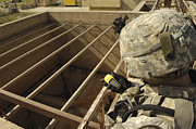 Wireless Technology Posters - U.s. Army Soldier Takes A Gps Grid Poster by Stocktrek Images