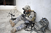 Transmitting Photos - U.s. Army Soldier Tests The Radio by Stocktrek Images
