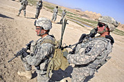 Talking Metal Prints - U.s. Army Soldiers Call In An Update Metal Print by Stocktrek Images