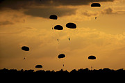 Paratrooper Photo Prints - U.s. Army Soldiers Parachute Print by Stocktrek Images