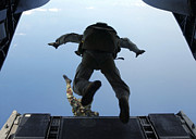Halo Framed Prints - U.s. Army Soldiers Perform Halo Jumps Framed Print by Stocktrek Images