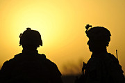 Middle East Prints - U.s. Army Soldiers Silhouetted Print by Stocktrek Images