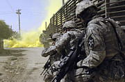 Operation Iraqi Freedom Art - U.s. Army Soldiers Using Smoke Grenades by Stocktrek Images
