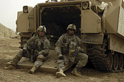 Hmmwv Posters - U.s. Army Soldiers Waiting At Patrol Poster by Stocktrek Images