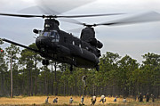 Chinook Posters - U.s. Army Special Forces Fast Rope Poster by Stocktrek Images