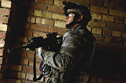 Army Men Prints - U.s. Army Specialist Scans The Area Print by Stocktrek Images